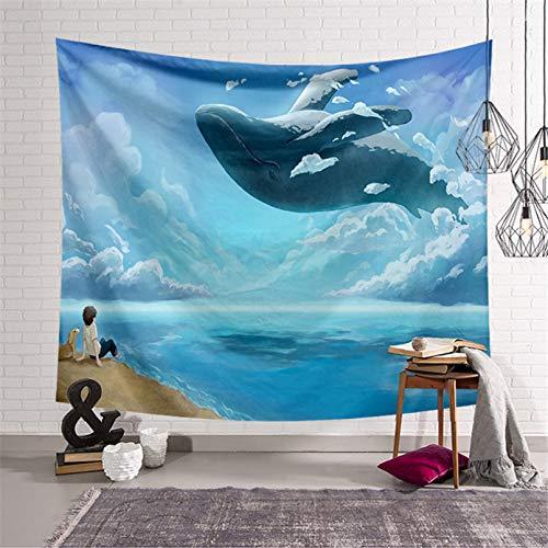 Tapices 3D Impresión Tapices de ballena de estilo japonés decoración de pared tela colgante pintura fondo tapiz de tela dormitorio colgante de pared estético Regalo de arte de decoración del hogar