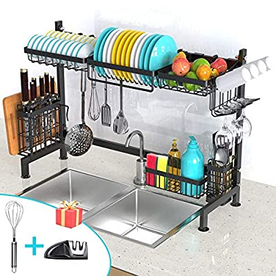 Over The Sink Dish Drying Rack, EONSIX Stainless Steel Kitchen Supplies Storage Shelf Space Saver Dishes Drainer Utensils Holder, Black(Sink Size?33.5in) by