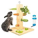 Futterbaum Kaninchen, Kaninchen Heuraufe Meerschweinchen Futterspender, Interessante Futterraufe mit Kaninchen Trinkflasche, für Kaninchen Meerschweinchen Chinchilla Zwergkaninchen Kleintiere (H01)