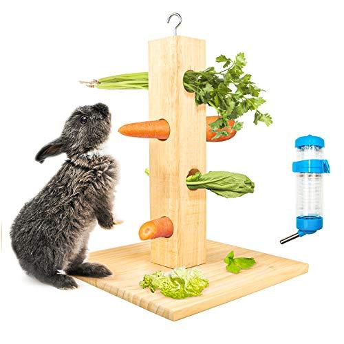 Comedero para conejos, conejos, cobayas, heno, cobayas, comedero interesante con botella de agua, para conejos, cobayas, chinchillas, conejos enanos, animales pequeños (H01)