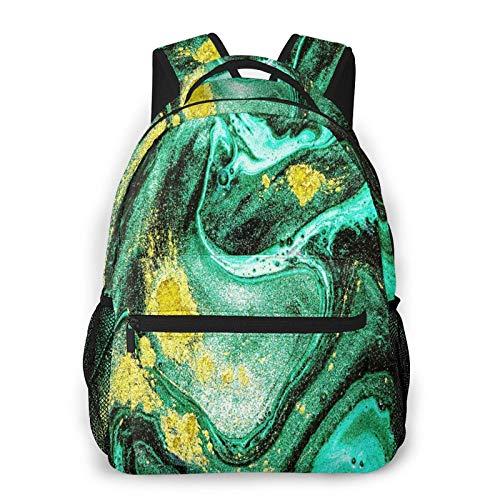 CVSANALA Multifunzionale Casuale Zaino,Modello di marmo naturale alla moda. Astratto Verde ART,Pacchetto a Doppia Spalla Borsa Sportiva da Viaggio Notebook per Computer