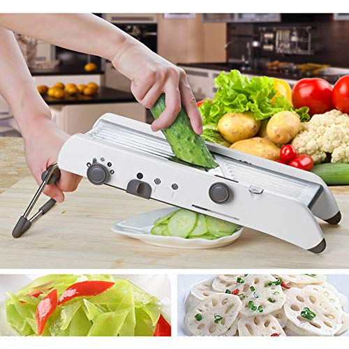 Adjustable Mandoline Slicer by Chef's INSPIRATIONS Best for Slicing Food Fruit And Vegetables Professional Grade Julienne Slicer with Cut Proof Gloves And Cleaning Brush Stainless Steel 35.51416.4Cm