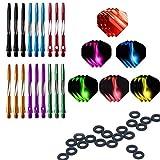 ToBeIT 18 pezzi freccette asta (dart shafts) in alluminio- 6 Set 2BA Alluminio Aste per Freccette con 6 set Alette per Freccette con 'O'ring