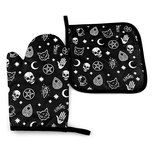 Colorful Skull Cat Moon Gothic Pattern Print Oven Mitts Pot Holders Set Heat Resistant Kitchen Waterproof with Inner Cotton Layer for Cooking BBQ Baking