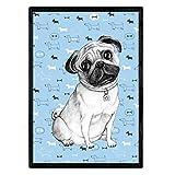 Nacnic Poster de Pug azul. Lámina decorativa de perros. Tamaño A4