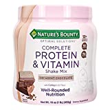 Nature's Bounty Complete Protein & Vitamin Shake Mix with Collagen & Fiber, Contains Vitamin C for Immune Health, Decadent Chocolate Flavored, 1 lb