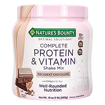 Nature s Bounty Complete Protein & Vitamin Shake Mix with Collagen & Fiber Contains Vitamin C for Immune Health Decadent Chocolate Flavored 1 lb