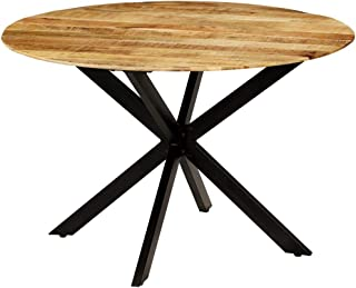 Festnight Table à Manger Ronde en Bois avec Style Industriel 120x77cm