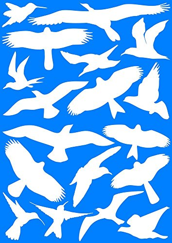 EAST-WEST Trading 18 weiße Vogelaufkleber für Fenster, Wintergärten, Glashäuser Zum Vogelschutz, Warnvogel Vogel-Silhouetten, Schutz vor Vogelschlag, Fensterschutz