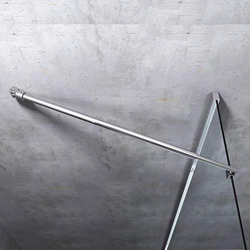 Haltestange für Duschwände Dusche Duschabtrennung rund Stabilisator Edelstahl Verstellung 700-1200 mm Glasstärken 6-10 mm GS21Flex