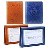 2 Pack Passport and Vaccine Card Holder Combo,Ultra Slim Passport Holder for Women Men, Leather Passport Case Protector with Waterproof Vaccine Card Slot (Brown + Dark blue)