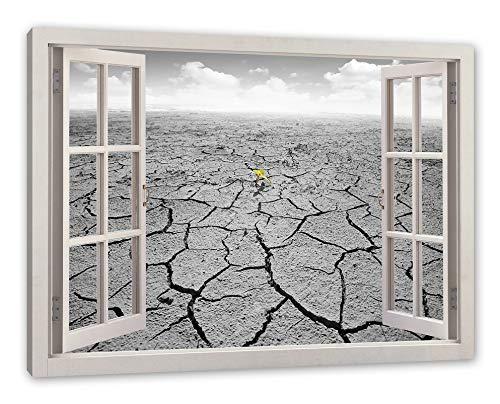 Pixxprint Keimling in woestijnbodem, raam canvas foto | muurschildering | kunstdruk hedendaags 60x40 cm