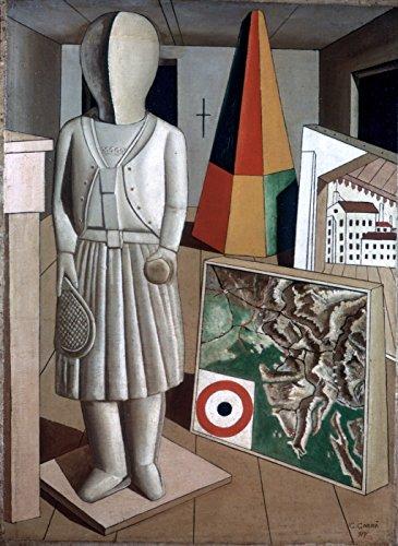 "La Musa Metafisica - By Carlo Carra - Canvas Prints 16"" by 22"" Unframed"