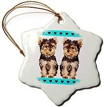 Mesllings Funny Christmas Ornament RinaPiro - Dogs - Tea Cup Yorkies Friends - Snowflake Porcelain Ornament
