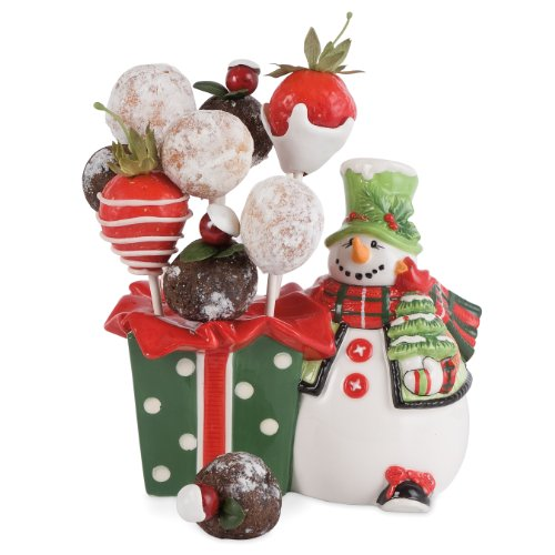 Fitz and Floyd Holly Hat Snowman Cake Pop Holder