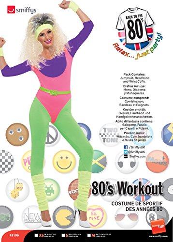 Smiffys, Damen 80er Work Out Kostüm, Overall, Haarband und Handgelenkmanschetten, Größe: S, 43196