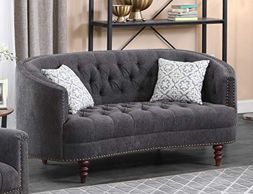 Best Master Furniture Farah Contemporary Tufted Linen Living Room Loveseat, Gray