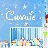 Adhesivo de pared con nombre personalizado y estrellas, sala de estilo de Disney para niños, Blanco, -Medium -SIZE 90cm x 30cm (36' x 12')