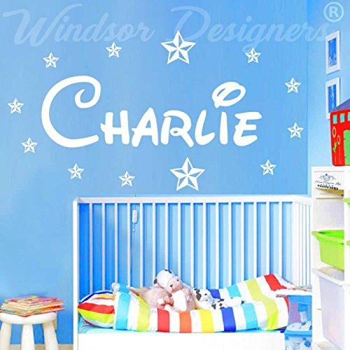 Windsor Designer–Personalisiertes Wandtattoo Namen, mit Sternen, Disney Stil, Kinder, Zimmer, Kinderzimmer B ZZ2, weiß, -Large -SIZE 120cm x 40cm (48