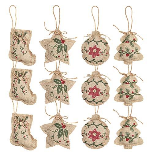 Adornos de Navidad de Arpillera Árbol Navidad (12 Piezas) 3 piezas x 4 Formas Calcetines Navidad Árbol Bola y Estrella Adorno Navidad Colgante para Fiesta de Navidad - Decoraciones de Navidad