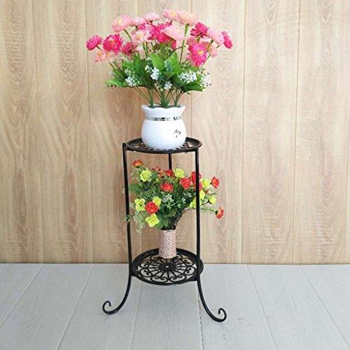 Fu Man Li Trading Company Iron simple mode bonsaïe petit cadre fleur rayon vert suspendu bleu balcon intérieur balançoire A+ (Couleur : Noir)