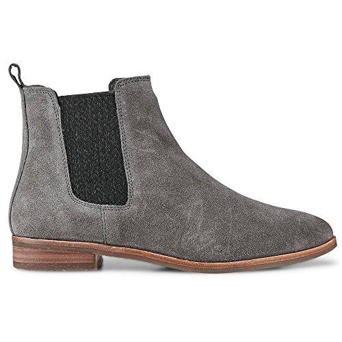 Cox Damen Chelsea-Boots aus Leder, Stiefeletten in Grau mit gummierter Laufsohle Grau Leder 38