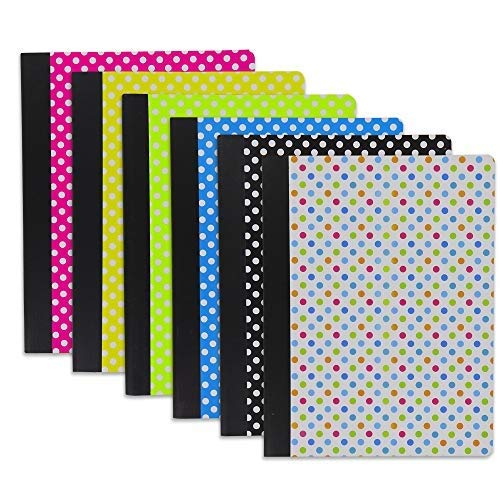 Emraw Polka Dot Composition Book Personal Notebook Wide Ruled Paper Diary 100 Sheets Office Planner Journal School Writing Book Assorted Colors (Pack of 2)
