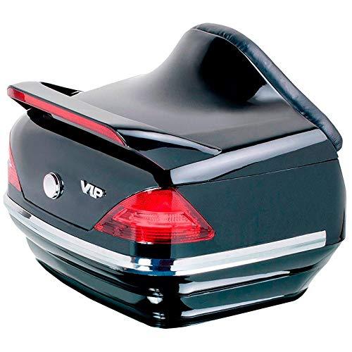Baul rigido para Moto Custom de 40 litros de Capacidad, con Pilotos y Respaldo. Color Negro Brillo.
