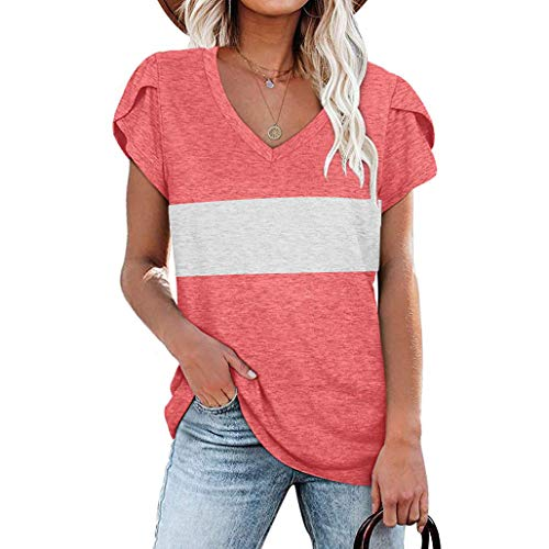 Qianxitang Womens Summer Tops V Neck Stripe Petal Sleeve Tuincs Color Block Casual Tshirts (Pink,Large)