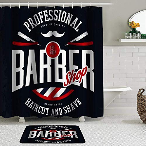 MEJAZING Shower Curtain Sets with Non-Slip Rugs,Barber Shop Sign Razors and Mustache Vintage Haircut Shaving Beard,Waterproof Bath Curtains Hooks and Bath Mat Rug Included