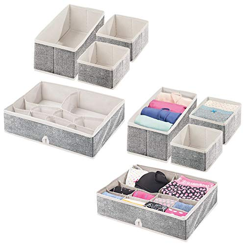 mDesign Soft Fabric Accessory Organizer and Closet Storage Organizer for Bedroom, Closet, Shelves, Drawers - Clothing/Accessory Organizing Bins, Set of 8-2 Pack - Light Purple/White