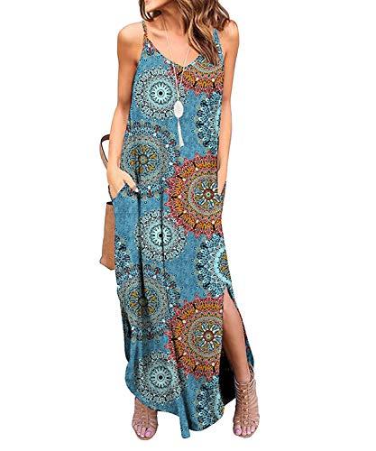 TUDOU Damen Kleid Lässig Spaghetti Strap V-Ausschnitt Split Maxi Kleid Sommer Strand Vertuschen Lange Cami T Shirt Kleider mit Tasche (M, Pfau)