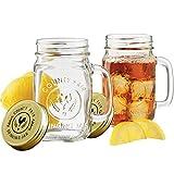 Mason Jar - Juego de 2 tarros de cristal (500 ml, tapa con anillo de goma,...
