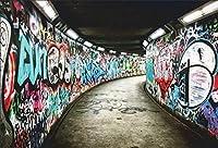 Zhyグラフィティトンネルの背景7x5ftポリエステル生地グラフィティアートワーク写真背景汚れた廃墟グランジ壁の背景グラフィティ展覧会写真イベント装飾ヒップポップテーマ写真撮影小道具