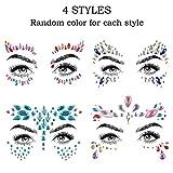 WOWOSS 4Pcs Rhinestone Cara Joyas Etiquetas engomadas faciales del rhinestone de DIY para ojos cuerpo cara decoración
