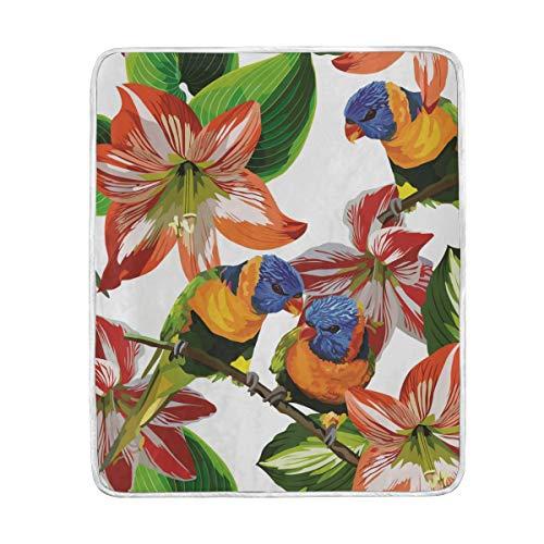 TIZORAX Manta de loros tropicales y flores, suave, cálida y acogedora, 127 x 152 cm, para cama, sofá, picnic, camping, playa
