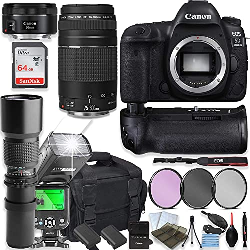 Canon EOS 5D Mark IV DSLR Camera with Canon 75-300mm Lensand 50mm Lens + 500mm Preset Telephoto Lens + 64GB Memory + Camera Case + 2 Batteries + Power Battery Grip + Professional Accessory Bundle