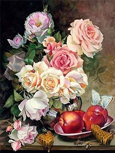 5D DIY diamante pintura jarrón de flores taladro redondo completo mosaico bordado Rosa diamantes de imitación imágenes decoración A6 50x60cm