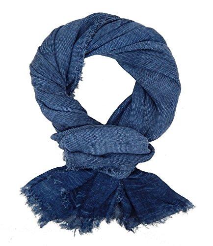 Ella Jonte Herrenschal blau Baumwolle Casual Leinen-Optik Vintage leichter Schal