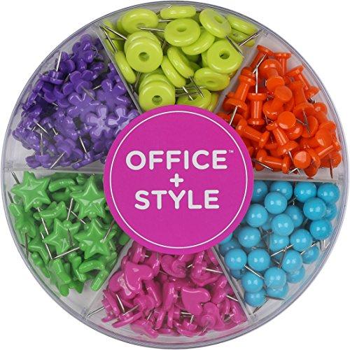 Office Style Pinos decorativos multicoloridos em formato de empurrar para casa e escritório, seis cores para diferentes projetos em recipiente de organização reutilizável