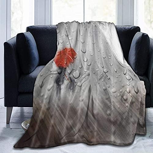 Kteubro Manta Sombra en la Lluvia Ultra Suave Micro Fleece Manta Caliente Manta de Cama para Adulto Niño Viaje Camping Manta D7200