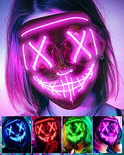 Scary Halloween Mask, LED Light up Mask Cosplay, Glowing in The Dark Mask Costume 3 Lighting Modes, Halloween Face Masks for Men Women Kids – Pink