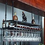 botellero Vino Estante de Vino de Hierro de Lujo Ligero, Soporte de Vino para Copa de Vino de Restaurante, Estante de Almacenamiento de Vino de Bar, Estante de Copa de Barra Colgante