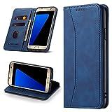 Leaisan Handyhülle für Samsung Galaxy S7 Hülle Premium Leder Flip Klappbare Stoßfeste Magnetische [Standfunktion] [Kartenfächern] Schutzhülle für Samsung Galaxy S7 Tasche - Blau