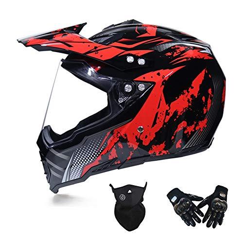 Motocross Helm mit Visier, Crosshelm Set mit Handschuhe Maske, Motorrad Fullface Offroad Helm Motorradhelm Schutzhelm Sicherheit Schutz Kit für MTB Enduro BMX Downhill, 3 Farben,Rot,XXL