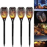 SKYWPOJU 4/8 Stück Gartenfackeln, Outdoor Flammeneffekt Solarlichter, blinkende Solarfackeln, Solarflamme, 33 tanzende LED Solarfackeln für Hinterhöfe Gärten (Size : 4 pcs)