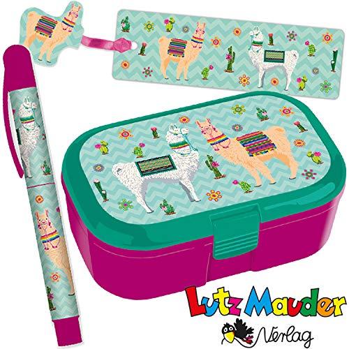 Neu: 3-TLG. Schule-Set * LAMA * für die Grundschule   mit Kugelschreiber + Brotdose + Lesezeichen   Kinder Einschulung Mädchen pink Tier Lunchbox Stift