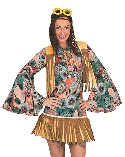 Retro hippie kostuum Breanna met franjes voor dames - jaren '70 jaren '80 jurk carnaval themafeest