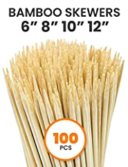 100% Natural Bamboo Skewer Food Grade: Clean, No Splits Debris. Each bamboo skewer is selected carefully makes cooking work perfect. Suitable for appetizer picks, sanck, fruit salad, cake decoration, cupcake toppers, cheese, fondue, chocolate fountai...