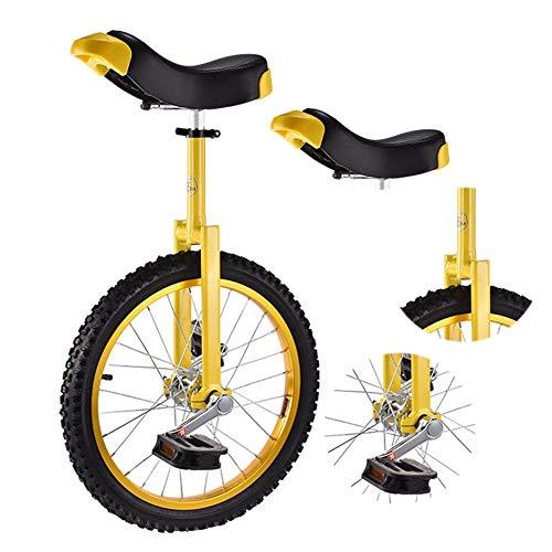 Einrad Kinder Einrad für Jungen Mädchen, 16-Zoll / 18-Zoll-Skidproof-Rad, Verstellbare Höhe Radsport-Balance-Übung für Kinder Von 9-14 Jahren (Color : Yellow, Size : 18 Inch Wheel)